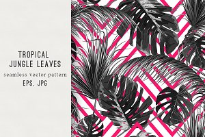 Tropical leaves abstract pattern