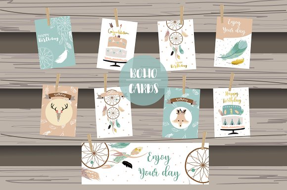 8 cute lovely design boho cards3#
