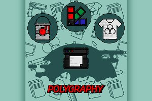 Polygraphy flat concept icons