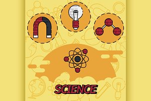 Science flat concept icons