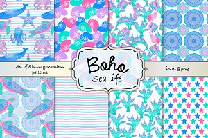 Boho sea life seamless pattern set