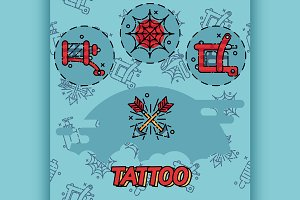 Tattoo flat icons set