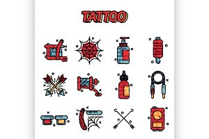 Tattoo icons set