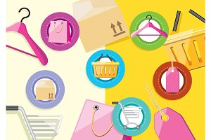 Shopping icons store elements bag