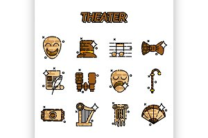 Theater flat icons set