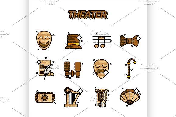 Theater Flat Icons Set