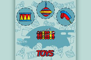Toys flat concept icons