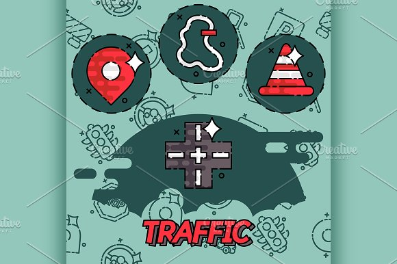Traffic Flat Concept Icons