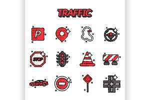 Traffic flat icons set