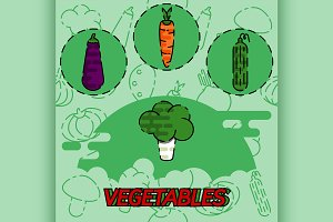 Vegetables flat concept icons