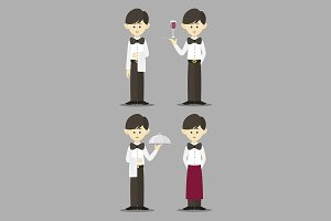 Isolated professional waiter set