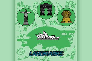 World landmarks flat concept icons