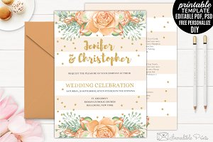 Gold and Orange Wedding Invitation