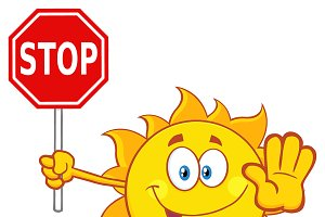 Cute Sun Holding A Stop Sign