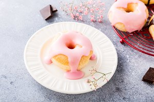 Homemade donuts with glaze