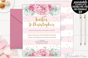 Gold and Pink Wedding Invitation