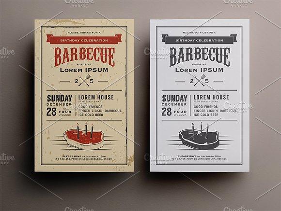birthday steak bbq invitation invitation templates creative market