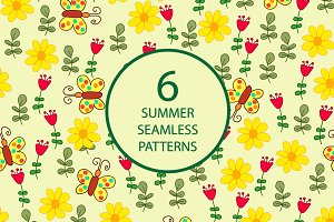 6 summer seamless patterns