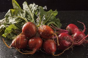 Bunch of Beets on Black