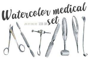 Watercolor medical surgery tools set
