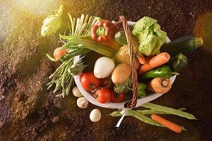 Vegetables in basket on soil general