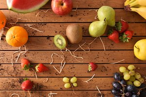 Fruits on a wood table top view