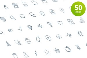 Set of 50 flat shady icons