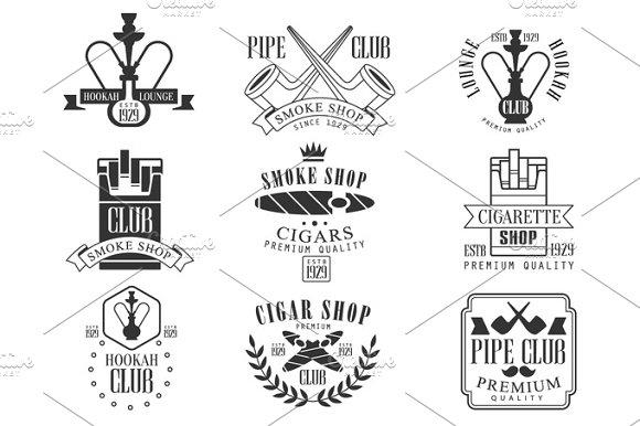 Smoke Shop Vintage Black And White Emblems