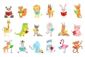 Cute Animal Characters Reading Books Set