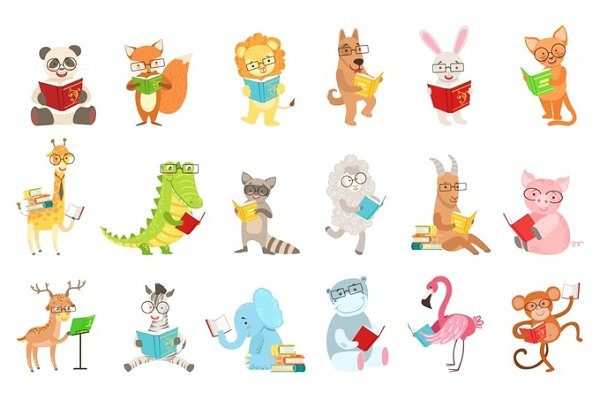 Cute Animal Characters Reading Book…