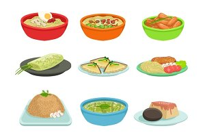 Asian Food Famous Dishes Illustration Set