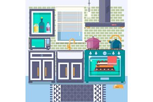 Kitchen with furniture. Flat style. Vector illustration.