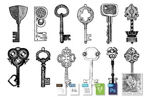 Set of fantasy lock-opening keys