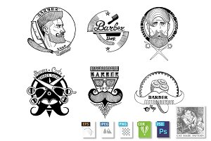 6 Barber shop emblems