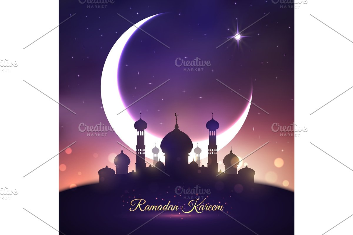 Ramadan Kareem, Eid Mubarak greeting card design