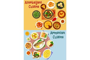 Armenian and azerbaijani cuisine icon set design