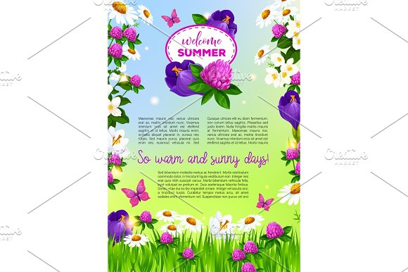 Flowers vector poster for Welcome Summer greetings