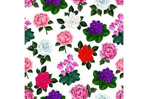Seamless pattern of vector garden flowers bouquets