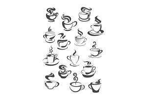 Coffee cup and mug isolated icon set