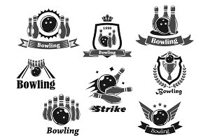 Bowling game sport club icon with ball, ninepins