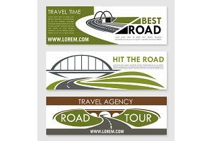 Road travel and car trip banner template set