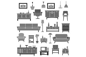 Home interior furniture items vector icons set
