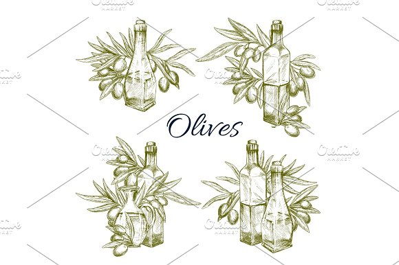 Olive Oil And Olives Vector Sketch Icons Set