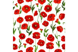 Seamless pattern of vector poppy flowers bunch