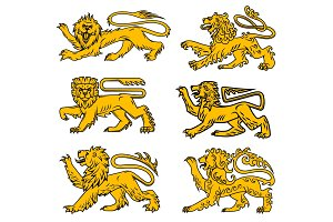 Lion heraldic icon set for tattoo, heraldry design