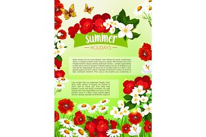 Summer poster of vector blooming flowers