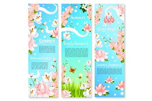 Summer flowers bouquets vector banners