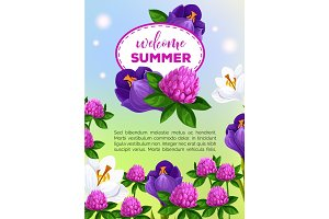 Summertime greeting card of vector summer flowers