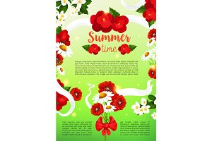 Vector greeting poster of summer flowers