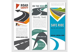 Road safety, travel and car trip banner set design